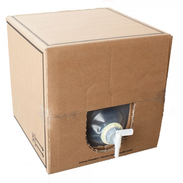 Faltkanister Fallwasserbehälter befüllt mit 25l entmineralisiertem Wasser inkl. Schlauch und Kupplung